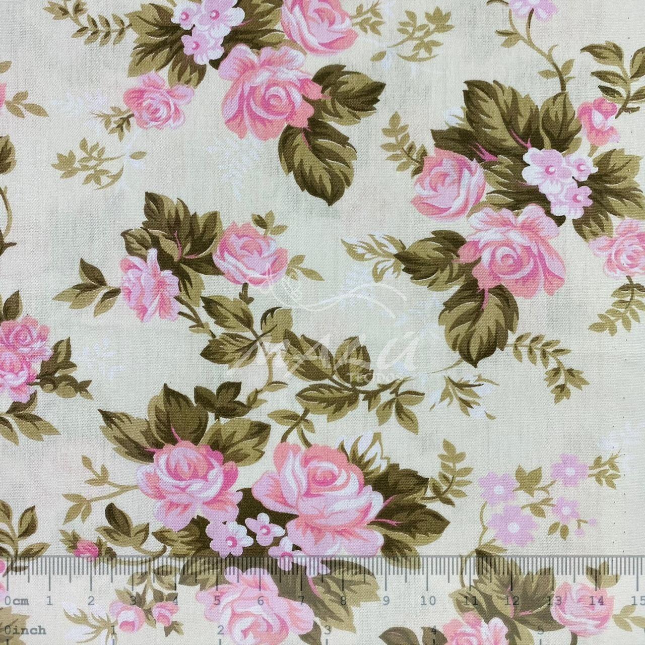 Tricoline Flores Rosas