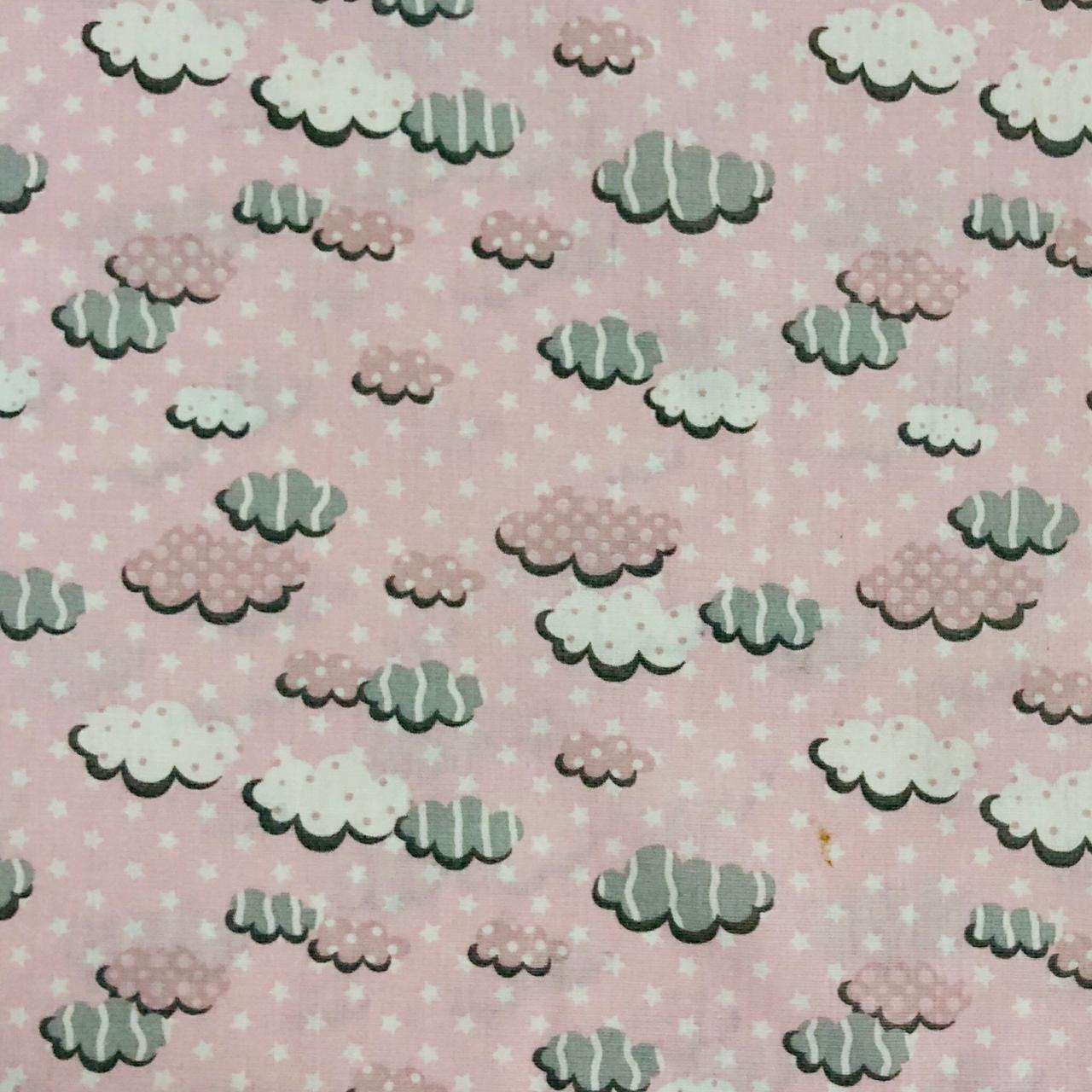 Tricoline Nuvem Rosa