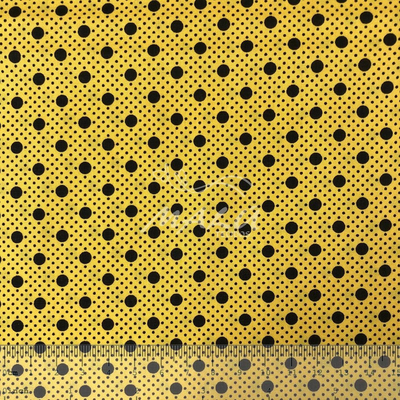 Tricoline Poa Amarelo com Preto